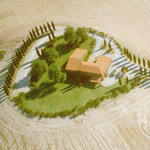 Cypress hill in the Tuscany (CG artwork by Mario Kelterbaum using Mediterranean cypress trees and other Laubwerk Plants, MAXON CINEMA 4D and OTOY® OctaneRender®)