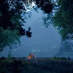 The Lake in Summer Evening and Campfire (artwork by Thomas Vournazos, Slashcube, using CINEMA 4D, Corona Renderer, Plants Kit 13)